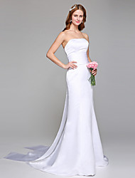 cheap -Sheath / Column Strapless Court Train Satin Wedding Dress with Sash / Ribbon by LAN TING BRIDE®