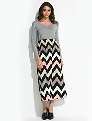 Women's Fine Stripe Beach Loose Dress,Striped/Print Round Neck Maxi Long Sleeve Gray/Green Cotton Fall