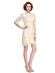 cheap -Sheath / Column Bateau Neck Knee Length Lace Mother of the Bride Dress with Appliques by LAN TING BRIDE®