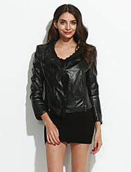 baratos -Mulheres Jaqueta Chique & Moderno-Sólido Estilo Clássico