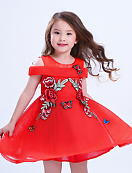 Girl's Casual/Daily Solid Dress,Cotton Polyester Summer Spring Sleeveless