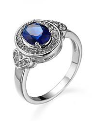 abordables -Bague / Anneaux Femme Zircon cubique Zircon Style Simple Bijoux Bleu pour Décontracté