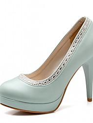 Mulheres Sapatos Sintético Courino Couro Ecológico Primavera Verão Conforto Inovador Chanel Saltos Caminhada Salto Agulha Ponta Redonda