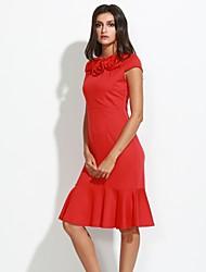 vestido de flores em torno do pescoço do vintage das mulheres, misturas de algodão azul / vermelho / preto / verde casual / festa / trabalho