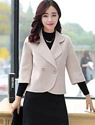 cheap -Women's Formal / Work Punk & Gothic / Sophisticated CoatSolid Shirt Collar Long Sleeve Fall / Winter Blue / Black
