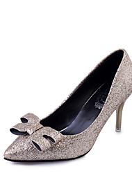 cheap -Women's Heels Fall / Winter Comfort PU Casual Low Heel Slip-on Black / Silver / Gold