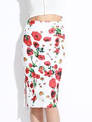 Women's Floral Red SkirtsStreet chic Knee-length