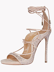 cheap -Women's Shoes Fleece Summer Ankle Strap Sandals Stiletto Heel Open Toe Sparkling Glitter / Lace-up Light Pink / Party & Evening / Lace up