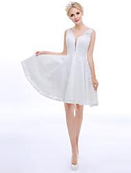 A-Fu Coquetel Vestido - Costas Lindas Linha A Gola Alta Até os Joelhos Renda com Renda