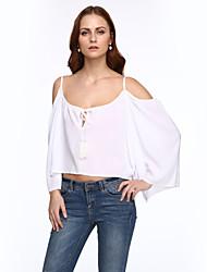 baratos -Mulheres Blusa - Para Noite Moda de Rua Frente Única, Sólido Com Alças