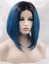 Two Tone Ombre T1B/Blue Color Synthetic Bob Wig Black Root Heat Resistant Synthetic Lace Front Wigs For Fashion Woman