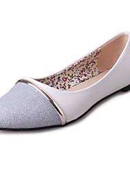 cheap -Women's Flats Spring Comfort Ballerina PU Casual Flat Heel  White Sliver Metallic