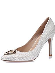 baratos -Mulheres Sapatos Gliter / Courino Primavera / Verão Saltos Salto Agulha Dedo Apontado / Dedo Fechado Pedrarias Branco / Preto / Prata