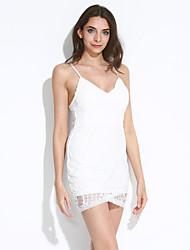 Damen Kleid-Bodycon / Spitze Sexy / Retro / Party / Leger Solide Mini Polyester / Spitze V-Ausschnitt