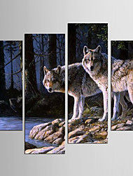 Canvas Set Landscape Animal Modern Realism,Four Panels Canvas Any Shape Print Wall Decor For Home Decoration