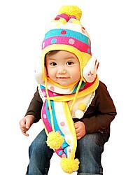 Недорогие -Девочки Мальчики Шарф, шапка и перчатки в комплекте,Зима,Вязаная одежда Желтый Пурпурный