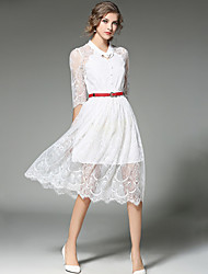 Women's Lace Casual Party Sexy Fashion Slim Thin Lace Dress Embroidered Stand Midi Length Sleeve White /Black Polyester /Nylon Spring /Summer