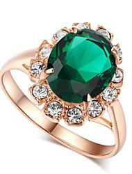 Недорогие -Жен. Обручальное кольцо Синтетический рубин Красный Зеленый Синий Драгоценный камень Сплав европейский Свадьба Для вечеринок Бижутерия Коктейльное кольцо