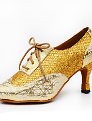 Недорогие -Жен. Обувь для латины / Обувь для джаза Лак / Кожа На каблуках Лак Каблуки на заказ Персонализируемая Танцевальная обувь Золотой / Черный