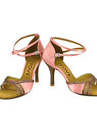 cheap -Women's Latin Salsa Satin Silk Sandal Heel Professional Performance Buckle Ribbon Tie Customized Heel Blue Pink Bronze Almond Nude