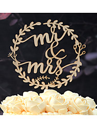 Mr & Mrs Wedding Cake Topper Made of Natural Wood in Natural Wood Color Fits 4-8 Inches Cakes