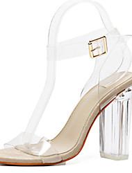 baratos -Mulheres Sapatos Borracha Primavera / Verão Conforto / Inovador Sandálias Caminhada Salto Robusto / Heel translúcido / Salto de bloco