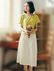 cheap -Women's Going out Holiday Vintage Cute Summer Blouse Skirt Suits,Solid Round Neck Short Sleeve