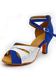 Scarpe da ballo-Personalizzabile-Da donna-Balli latino-americani-Tacco su misura-Di pelle Brillantini Sintetico-Blu Argento