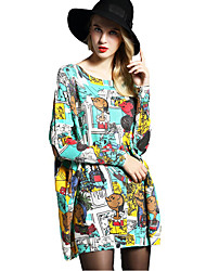 cheap -Women's Daily Beach Holiday Cute Loose Dress,Print Boat Neck Above Knee Long Sleeves Wool Acrylic Nylon Spring Fall High Rise