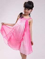 cheap -Girl's Daily Going out Patchwork Dress, Cotton Summer Sleeveless Lace Fuchsia