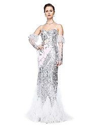 cheap -Sheath / Column Spaghetti Straps Floor Length Tulle / Sequined Formal Evening Dress with Sequin / Pleats by TS Couture®