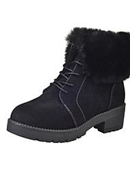 Women's Boots Fashion Boots PU Fall Winter Casual Fashion Boots Black Gray Dark Brown Under 1in