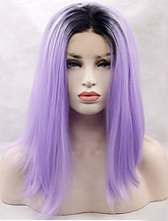 Heat Resistant Synthetic Lace Front Wigs Long Straight Hair Black Root Purple Color Synthetic Hair Fiber Wig With Adjustable Strap