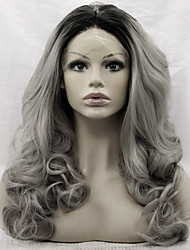 cheap -Synthetic Lace Front Wig Loose Wave Synthetic Hair Natural Hairline Gray Wig Women's Lace Front