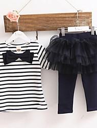 cheap -Girl's Fashion 2pcs Stripe Bow Top T-shirt + Tutu Skirt Leggings Culottes Child Clothes Sets