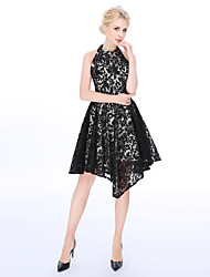 cheap -A-Line Fit & Flare Halter Knee Length Lace Cocktail Party Dress with Lace Pleats by A-Fu