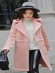 Χαμηλού Κόστους MariagraziaCeraso-Γυναικεία Γούνινο παλτό Καθημερινά Απλό Μονόχρωμο,Μακρυμάνικο Βαθύ V Φθινόπωρο / Χειμώνας Ψεύτικη Γούνα Μπλε / Ροζ / Άσπρο