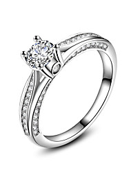 cheap -New Luxury  AAA Zircon 925 Sterling Silver Brilliant Stackable Wedding Engagement Ring Clear Fine Jewelry