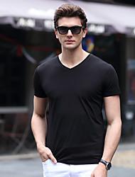preiswerte -Herren Solide Einfach Lässig/Alltäglich Strand Übergröße T-shirt,V-Ausschnitt Sommer Kurzarm Blau Rot Weiß Schwarz Grau Baumwolle Elasthan