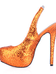 Недорогие -Черный Синий Оранжевый-Женский-Для праздника Для вечеринки / ужина-Синтетика-На шпильке-Босоножки-Обувь на каблуках