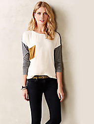 cheap -Women's Daily Going out Casual Street chic Spring Fall T-shirt,Patchwork Round Neck Long Sleeves Polyester