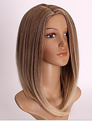 cheap -Women Short Ombre Color Straight Wave Synthetic Hair Wig with Free Hair Net