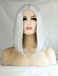 cheap -Heat Resistant Short Bob Synthetic Lace Front Wigs Straight Hair White Color Synthetic Fiber Hair Lace Bob Wig