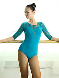 Latin Dance Leotards Women's Performance Lace Viscose Lace Splicing 1 Piece Half Sleeve Natural Leotard
