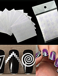 12 Autocollant d'art de clou Manucure Pochoir Maquillage cosmétique Nail Art Design