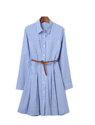 cheap -Women's Going out / Work Street chic / Sophisticated A Line Dress - Striped Shirt Collar