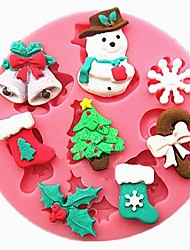 1 Pcs Snowman Christmas Trees And Christmas Bells For Chocolate High Quality  7Cm*7Cm*1Cm