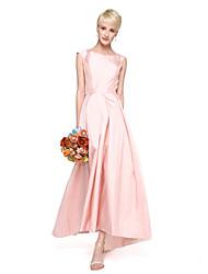 cheap -A-Line Jewel Neck Asymmetrical Satin Bridesmaid Dress with Sash / Ribbon / Pleats by LAN TING BRIDE® / High Low