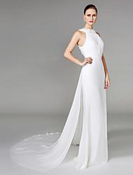 cheap -Sheath / Column High Neck Chapel Train Chiffon Wedding Dress with Beading Draped Flower by LAN TING BRIDE®