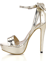 cheap -Women's Shoes PU Summer Comfort Sandals Stiletto Heel Open Toe for Wedding Dress Party & Evening Gold Black Silver